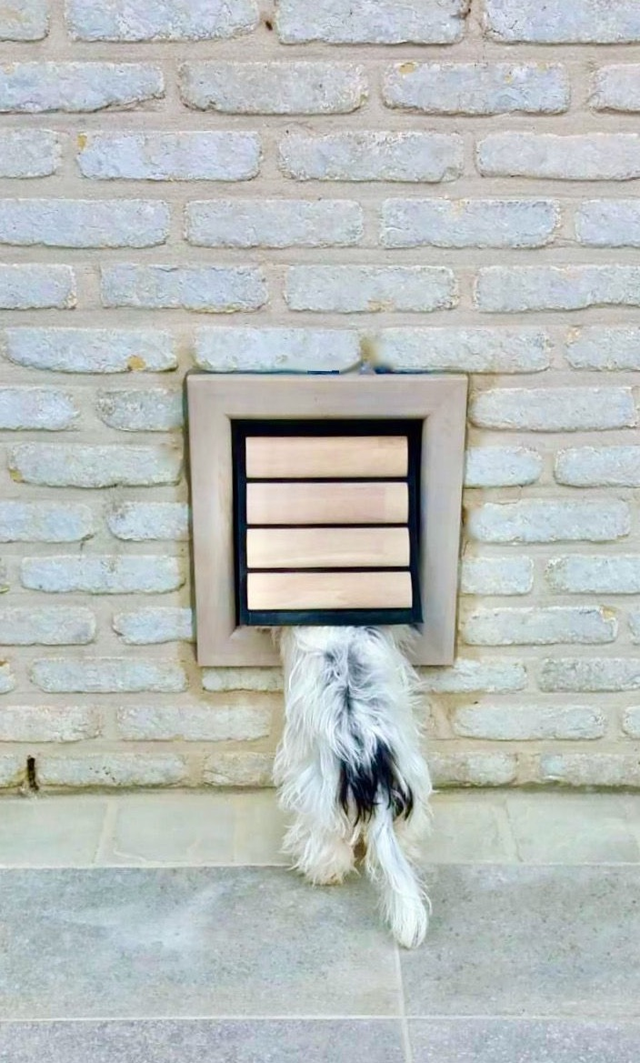 Dog Flap | Cat Flap | Dog Door | Cat Door | Nipper (Small) Grey wooden dog flap for a Maltese and cat flap installed in a grey brick wall | © Tomsgates