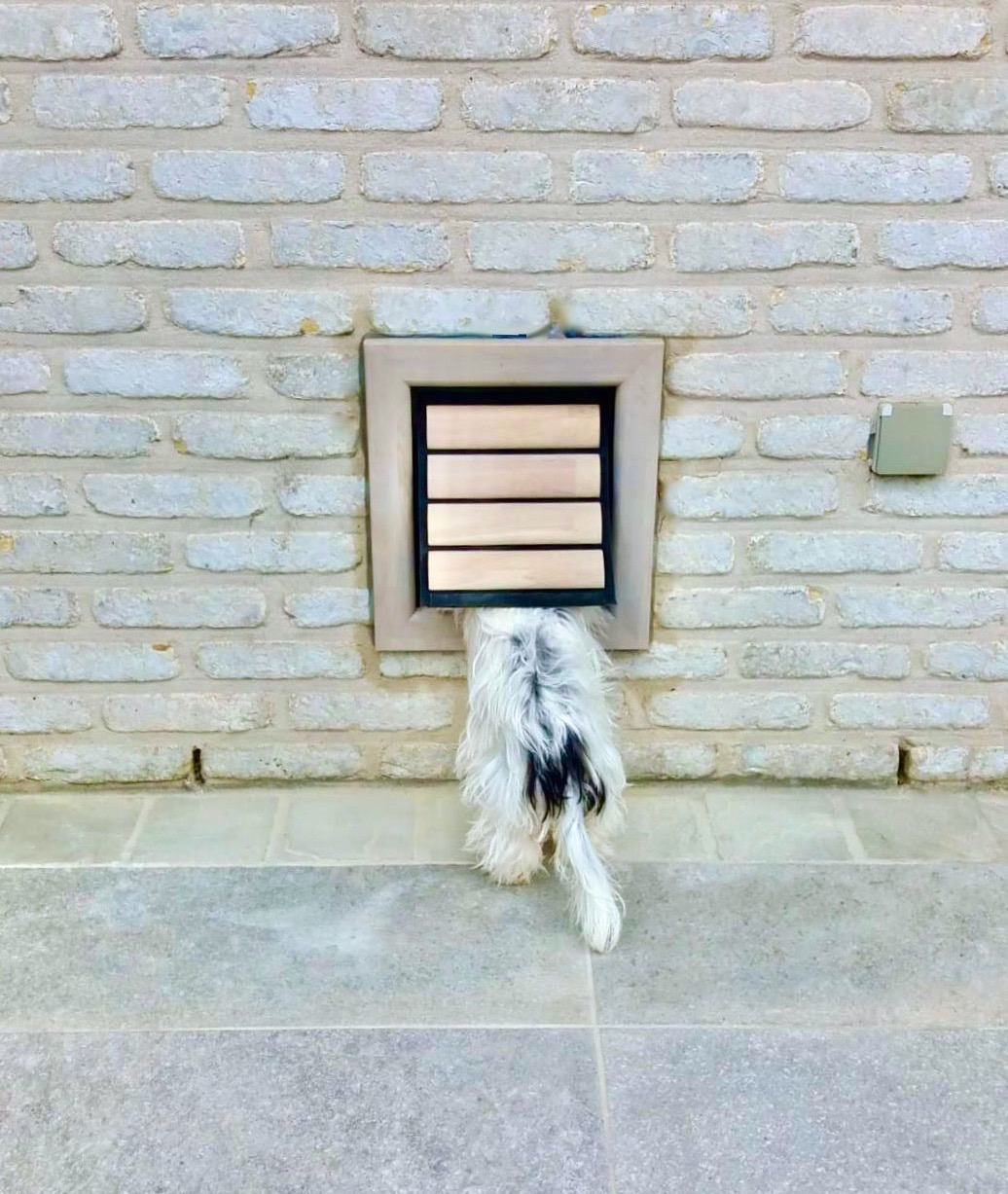 Dog Flap | Dog Door | Nipper (Small) Grey wooden dog door for small dogs installed in a grey brick wall | © Tomsgates